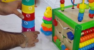 Playing-with-Joy-Cups-Cat-and-Stacking-Block-Toy-Tower-Ring